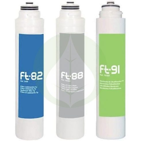 szűrőkészlet - 3 darabos Ezüsttel - Puricom - Ionfilter FT-Line3 víztisztító készülékekhez